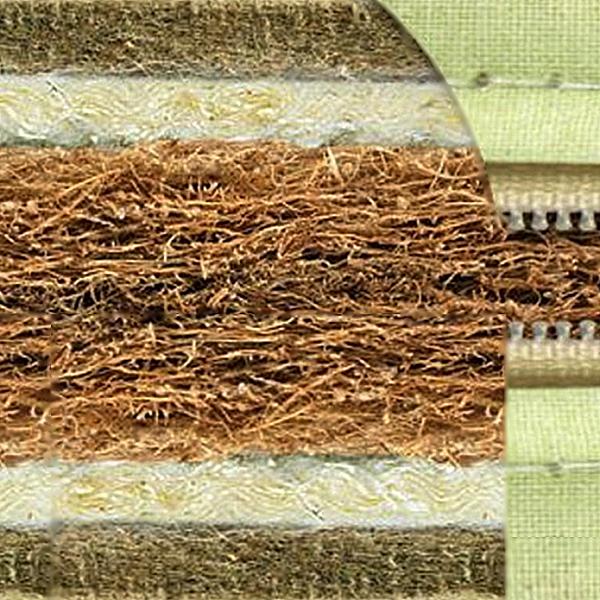 Беспружинный матрас:сэндвич-конструкция из пальмовой койры, шерсти мериноса и кокосовой койры